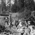 Campers and Staff on the road in front of Camp,1930's.