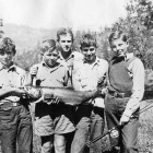 Campers-with-a-summer-run-salmon,-1930's