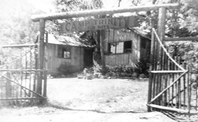 Camp Trinity gate black and white
