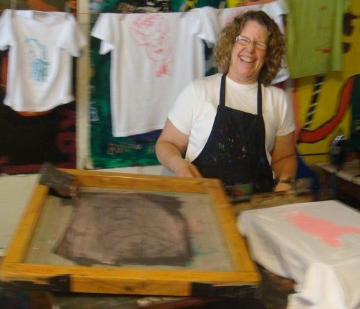 Jennifer Lootens silkscreening at Camp