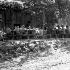 Camp Trinity-Bar 717 Ranch meal time on the Eating Platform, ca. 1940s crop